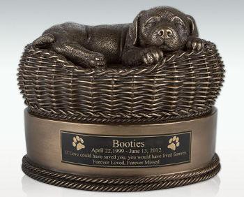 Bronze Dog in Basket Ash Urn
